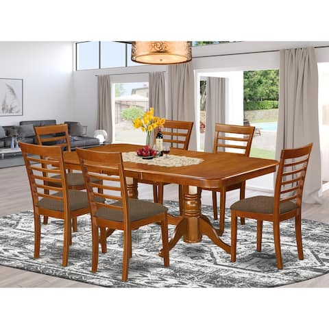 7-piece Dining Room Set with Dinette Table with Leaf and 6 Dining Chairs in Saddle Brown Finish