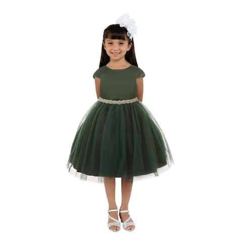 Kids Dream Girls Hunter Green Satin Tulle Rhinestone Christmas Dress