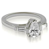 0.75 cttw. 14K White Gold Pear and Baguette Three Stone Diamond Engagement Ring