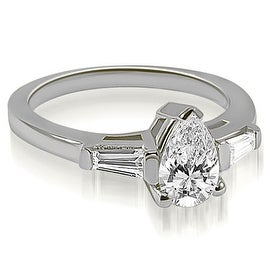 1.25 cttw. 14K White Gold Pear and Baguette Three Stone Diamond Engagement Ring