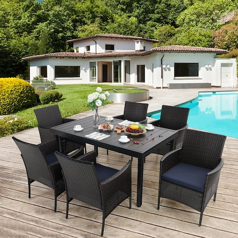 PHI VILLA 7/9 Piece Outdoor Dining Table Sets, Expandable Rectangular Metal Dining Table and 6 Rattan Chairs
