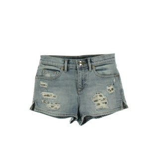Juicy Couture Black Label Womens Detroyed Stone Wash Denim Shorts