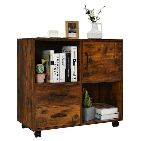 Costway File Cabinet Mobile Lateral Printer Stand with Storage Shelves