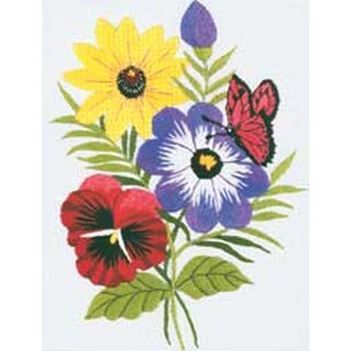 """5""""X7"""" Stitched In Floss - Floral Embroidery Kit"""