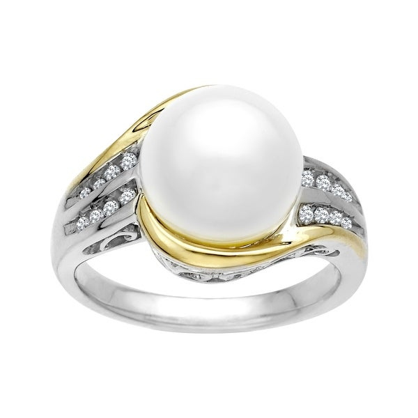 Freshwater Pearl Ring with 1/10 ct Diamonds in Sterling Silver & 14K Gold