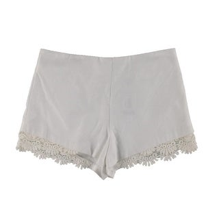 Aqua Womens Lace Trim High Waist Casual Shorts - L