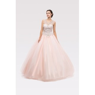 Sleeveless Beaded Tulle Ball Gown