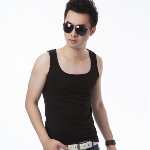 Men Fitness Tight Movement Render Vest Men's Summer Close-fitting Cotton Vest T-Shirt