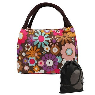 JAVOedge Floral Print Lunch Tote Bag with Zipper and Handle