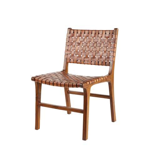 Armless Teak Wood & Top Grain Leather Dining Chair - 21 x 20 x 33