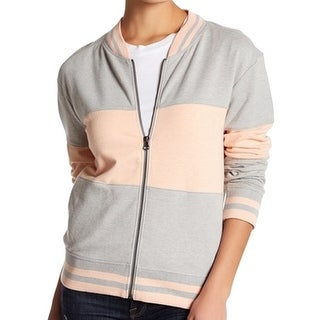 Abound NEW Gray Pink Stripe Women's Size XS Full-Zip Sweatshirt Jacket