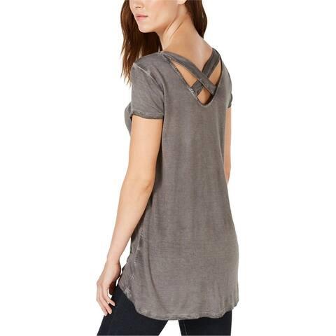 Bar Iii Womens Strappy Back Basic T-Shirt