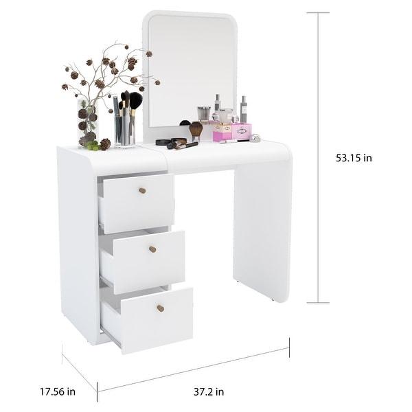 Boahaus Aphrodite Dressing Table, White, Standing Mirror, 03 Drawers