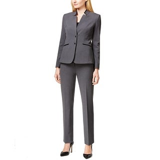 Tahari ASL Petite Faux Leather Trim Pant Suit - 14P