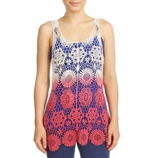 Cupio Women's Dip Dye Crochet Swingy Tank Top