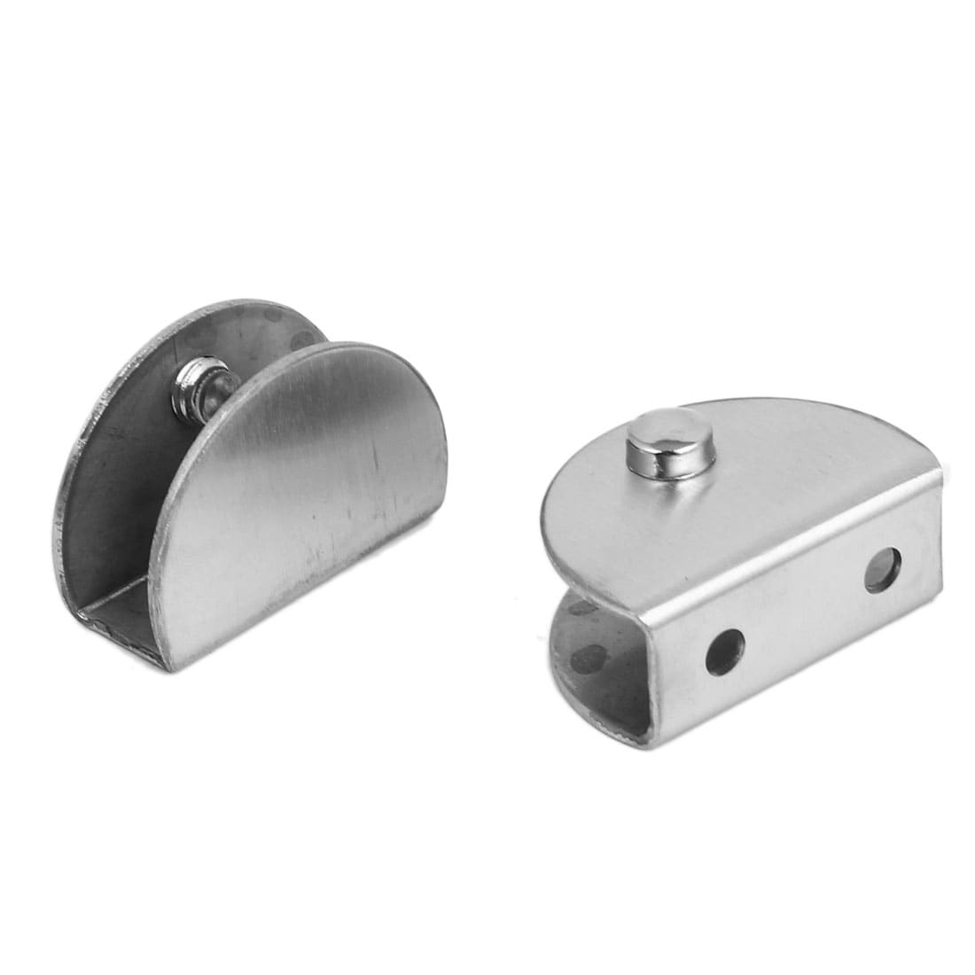 2pcs Silver Tone Metal Adjustable Screw Mount Door Hinge Glass Clamp Clip Holder