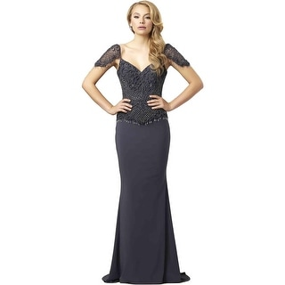 Mac Duggal Womens Beaded Prom Formal Dress