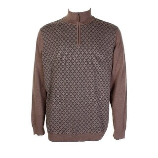 Tasso Elba Brown Diamond-Pattern Sweater L