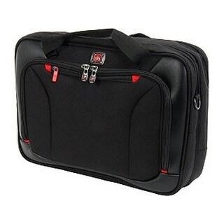 """Black Highwire 17"""" Deluxe Laptop Briefcase With Tablet / Ereader Pocket"""