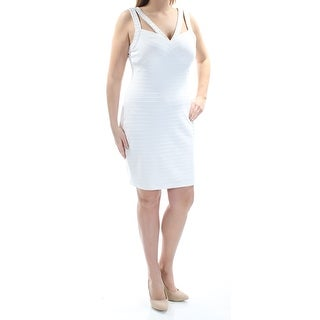 Womens Ivory Sleeveless Above The Knee Sheath Cocktail Dress Size: 14