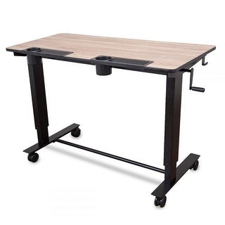 Offex Two- Student Standing Desk with Crank Light Wood Desktop and Black Frame