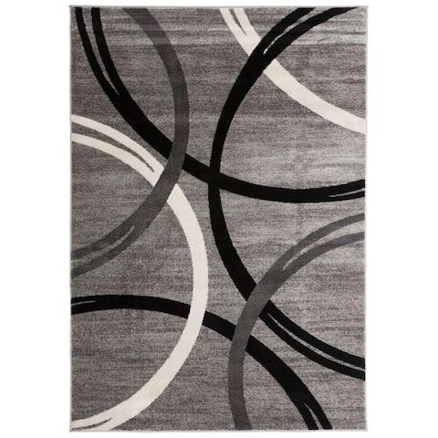 Contemporary Abstract Circles Design Area Rug
