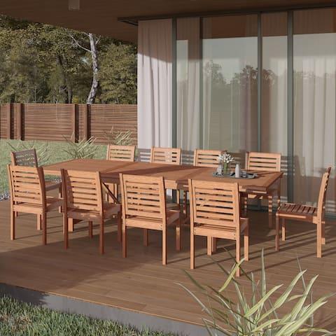 Amazonia Nadia 11-piece Eucalyptus Wood Extendable Dining Set