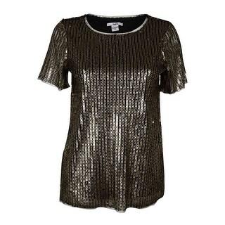 Bar III Women's Short Sleeve Sequined Top - Gold - xs