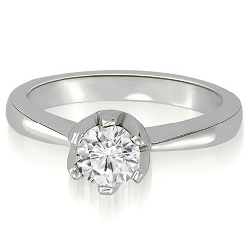 0.75 cttw. 14K White Gold Solitaire Round Diamond Classic Crown Engagement Ring