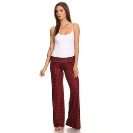 Women's Tribal Burgundy Printed Palazzo Pants Made in USA