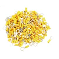 Unique Bargains Unique Bargains RV5.5-10 Ring Tongue Type Pre Insulated Terminals Yellow 500pcs for AWG 12-10