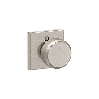 Schlage F170-BWE-COL  Bowery Non-Turning One-Sided Dummy Door Knob with Decorative Collins Rosette - Satin Nickel