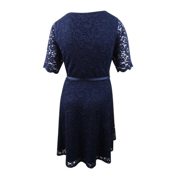 Charter Club Women\'s Plus Size Belted Lace A-Line Dress (2X, Intrepid Blue)  - Intrepid Blue - 2X