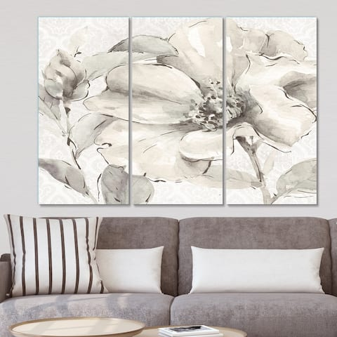 Designart 'Indigold Grey Peonies IV' Farmhouse Canvas Art