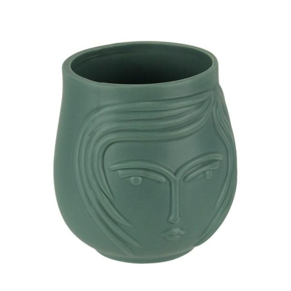 Blue Ceramic Contemporary Female Face Decorative Planter - 5 X 4.25 X 4.25 inches