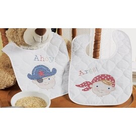 Bucilla Baby Ships Ahoy Quilted Pair Stamped Cross Stitch Bib Kit - Navy