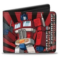 Optimus Prime Pose + Semi Rays Black Red Bi Fold Wallet - One Size Fits most