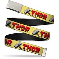 Marvel Comics Blank Chrome Buckle Thor & Hammer Yellow Webbing Web Belt