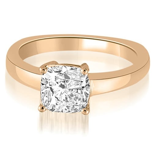 1.00 cttw. 14K Rose Gold Euro Shank Cushion Solitaire Diamond Engagement Ring