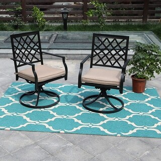 Link to PHI VILLA Outdoor Patio Swivel Chair for Garden Backyard Furniture 2 Pcs Sets Similar Items in Outdoor Dining Sets