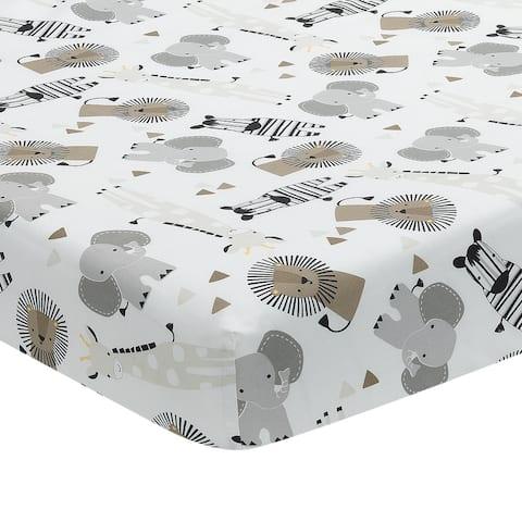 Lambs & Ivy Jungle Safari 100% Cotton White/Gray Elephant/Lion Fitted Crib Sheet