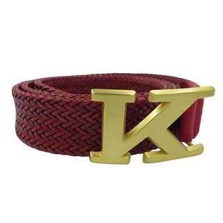 Kiton Men's Red Braided Leather Logo Belt (4 options available)