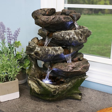 Sunnydaze 5 Step Rock Falls Tabletop Indoor Fountain with LED Lights - 14-Inch - 14-In