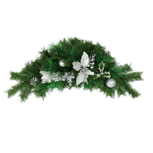 "30"" Pre-Decorated Silver Poinsettia, Pine Cone and Ball Artificial Christmas Swag - Unlit"