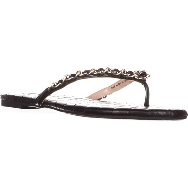 I35 Maceo Flat Thong Sandals, Black - 9.5 us