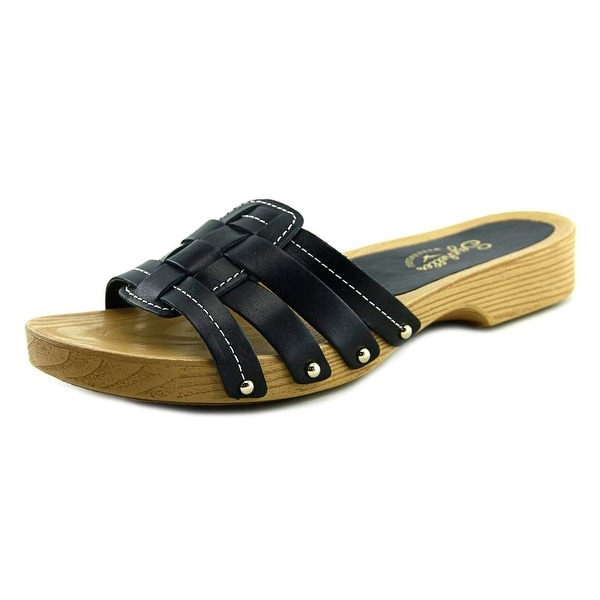 Seychelles Whiz Women Open Toe Leather Black Slides Sandal