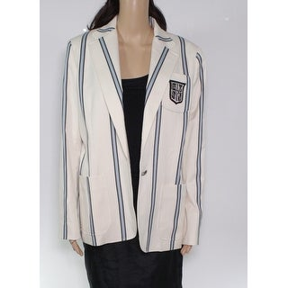 Lauren by Ralph Lauren Womens Jacket White Ivory Size 14 Striped