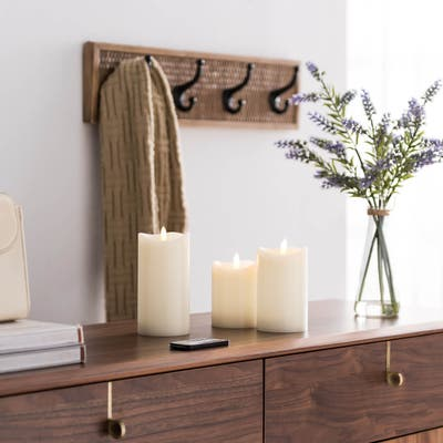 "Ivory Pillar LED Flameless Candle Set of 3 - 3"" Diameter x 4"", 5"", 6"" high"