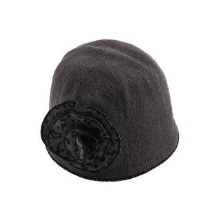 Womens Flower Beanie - Black