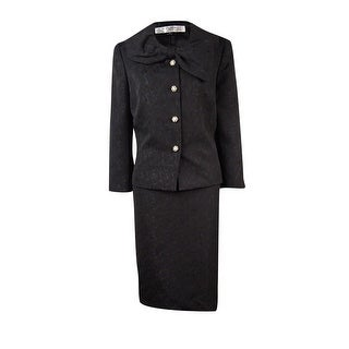 Tahari Women's Four Embellished Button Bow Collar Skirt Suit - 8